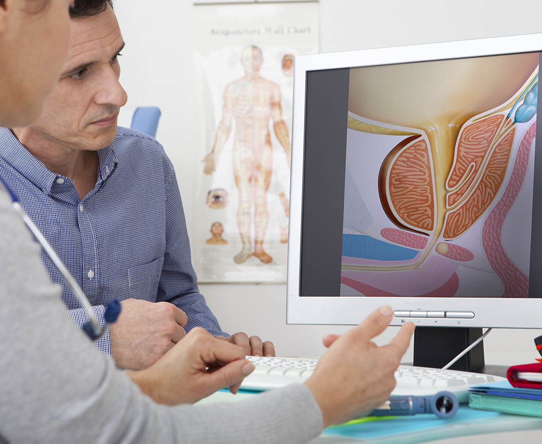 Urologist doctor with prostate problem patient